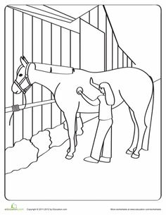 This coloring page featuring a young girl grooming her horse will put your preschooler's imagination and crayons to good use! Horse Coloring Pages, Alphabet Coloring Pages, Adult Coloring Pages, Coloring Sheets, Colouring, Preschool Colors, Horse Camp, Country Fair, Baby Horses