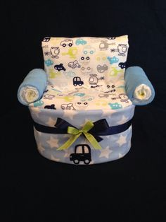 Chair Diaper Cake for Baby Boy, perfect for a baby shower gift. www.DiaperCakesByRosie.com