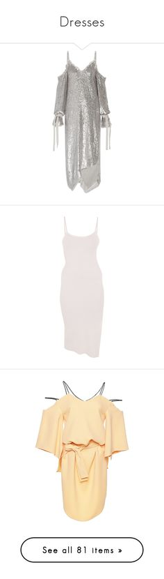 """""""Dresses"""" by katie-macca ❤ liked on Polyvore featuring dresses, silver, sequin cocktail dresses, white sequin cocktail dress, sequined dresses, embellished dress, chiffon midi dress, side slit dress, body con dresses and pink dress"""