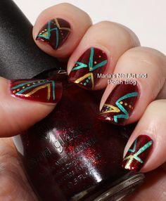 Abstract chevron nail art   See more nail designs at http://www.nailsss.com/acrylic-nails-ideas/2/