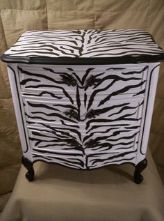 Zebra Print handpainted French provincial Night Stand from artworksbycarol on Etsy. Saved to Things I want as gifts.