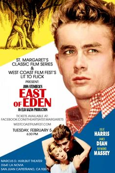 -East of Eden based on the novel by John Steinbeck, starring James Dean and Julie Harris, directed by Elia Kazan. Old Movie Posters, Classic Movie Posters, Cinema Posters, Classic Movies, Vintage Posters, Eden Movie, I Movie, Old Movies, Vintage Movies