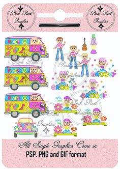 Buy 1 Get 1 Free Pixel 60s Hippie Chicks Groovy Flower Girls Peace Bus Love Bug Fun Graphics Clip Art Images Collection $0.95