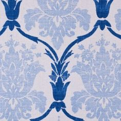 We love this heavyweight cotton print with a classical floral design in light and dark blue. Natural-color background. Has a slight vintage, worn look to it. Ideal for all types of upholstery and some window treatments.