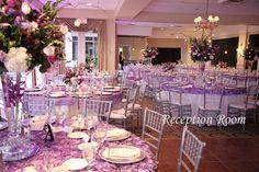 Purple Sparkle themed wedding, Reception Room www.flowersfromus.net