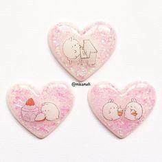 OOAK Molang Chubby Bunny White Rabbit Resin Charm Keychain . Animal Kawaii Cute Pink Heart Piece Bag Charm Jewelry . Milk Bubble Tea Cake . Glitter .
