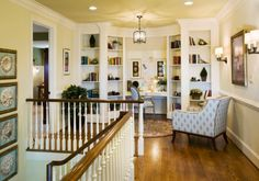another neat staircase landing area--traditional staircase by Gacek Design Group, Inc. Stair Landing Decor, Staircase Landing, Stair Decor, Curved Staircase, Staircase Design, Stair Design, Home Design, Design Blog, Design Ideas