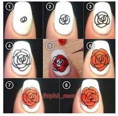 DIY rose nail design