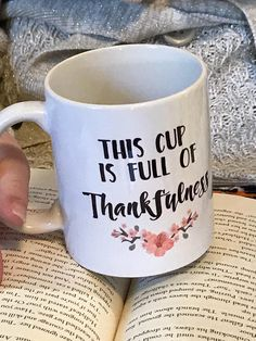 This cup is full of thankfulness and its a great Thank you gift!. Show your gratitude with this beautiful mug thats adorned with cherry blossoms in a lovely shade of peach. Its an 11oz ceramic mug and its totally dishwasher safe! It makes a great gift, or keep it for yourself. Better