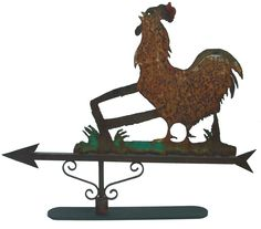 Large sheet metal silhouette antique American Rooster weathervane