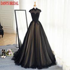 Preto Longo Lace vestido de Noite Vestidos de Festa de Tule Frisado Alta Pescoço Mulheres Bonitas Prom vestidos Formais Vestidos de Noite Desgaste
