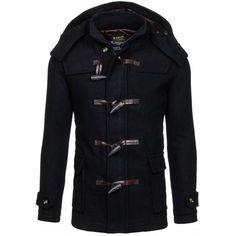 Pánsky čierny zimný kabát s kapucňou a vreckami - fashionday.eu