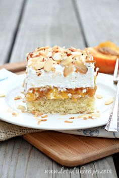 Made From Scratch Better Than Anything Peach Cake: A yellow cake layer is topped with a luscious homemade peach filling, then finished off with fresh whipped cream and toasted slivered almonds in this delicious, made-from-scratch dessert. Peach Cake Recipes, Sweet Recipes, Dessert Recipes, Fruit Dessert, Fruit Recipes, Diabetic Recipes, Fall Recipes, Recipies, Poke Cakes