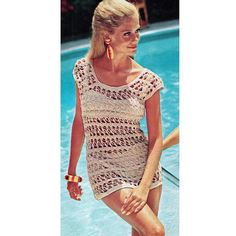 INSTANT DOWNLOAD PDF Vintage Crochet Pattern    Mermaid Cage Beach Mini Dress Tunic Cover Up  Retro