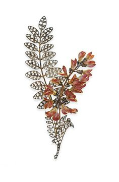 AN ANTIQUE DIAMOND AND ENAMEL CORSAGE BROOCH, BY BOUCHERON   Designed as an old mine and rose-cut diamond foliate spray, enhanced by pink cloisonné enamel and rose-cut diamond acacia flowers, mounted in silver-topped gold, circa 1895, with French assay marks  With maker's mark for Boucheron