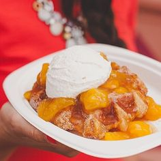PEACH COBBLER LIEGE WAFFLE. Yep. Rolled in cinnamon sugar, topped with homemade peach cobbler topping & a scoop of fresh whipped cream!