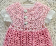Crocheted Baby Dress Girl Infant 0 to 3 Month Size by RaeOfLight, $27.95