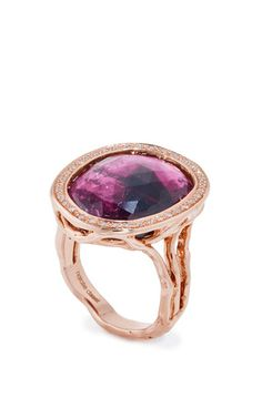 One of a kind rose cut tourmaline ring by NATALIE DISSEL for Preorder on Moda Operandi