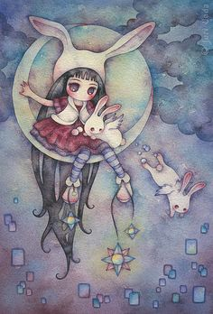 """19cm x 28cm / 7.5"""" x 11"""" / watercolor on paper / 2008  in japan, they say there's a bunny on the moon...  *sold*  """"Sweet 100"""" Group Exhibition November 14 - December 31, 2008 Suite 100 Gallery, Seattle, WA"""