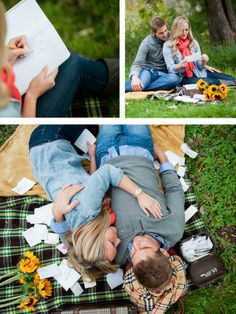 Casual picnic engagement photos by Gina Cristine Photography.