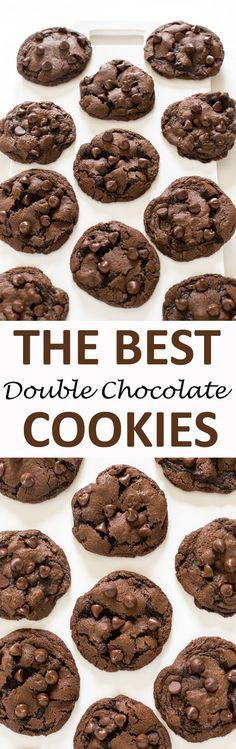 Soft & Chewy Double Chocolate Chip Cookies. Made with semi sweet chocolate chips and cocoa powder. These cookies take only 20 minutes to make start to finish!   chefsavvy.com #recipe #dessert #cookies #chocolate