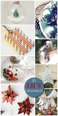 30 Gorgeous DIY Ornaments - Make these as gifts or for your own family's tree! #DIY #Christmas