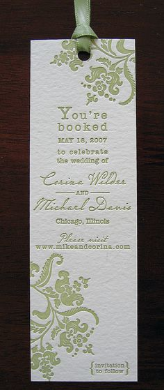 Our wedding reception was at the Chicago Public Library - we sent bookmark save the dates.