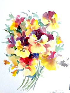 Pansies, original watercolor painting, 12 X 9 in, yellow, purple, floral painting, flowers art