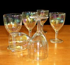 Vintage, Set of 6, Iridescent, Optic, Wine Glasses, Star Foot by cocoandcoffeevintage