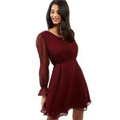 Vínovej šaty s priehľadnými dlhým rukávmi ELISE RYAN veľký