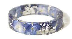 Resin Flower Moss Bangles Bracelets by modern flower child, Sarah Smith