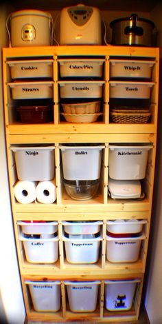 I stacked 4 Trofast units from Ikea. Labeled with my cricut. Organized and fabulous pantry storage!