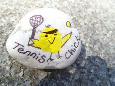 Hand Painted and Drawn Thumbprint Rock Tennis by mulberrymoose, $5.00