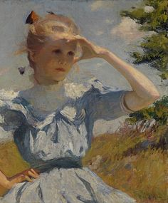 """Eleanor"", c.1907, (daughter of artist). American Impressionist Artist: Frank Weston Benson, (1862-1951). ~ {cwlyons} ~ (Image: Rhode Island School of Design Museum)"
