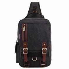 Men Multifunctional Canvas Outdoor Shoulder Bag Casual Crossbody Bag Retro Leisure Chest Bag