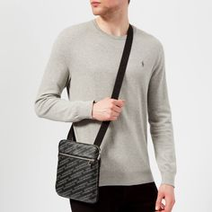 Get Emporio Armani Men's Allover Logo Cross Body Bag - Black now at Coggles - the one stop shop for the sartorially minded shopper. Armani Men, Emporio Armani, Satchel, Crossbody Bag, Petite Fashion Tips, Spring Outfits, Messenger Bag, Flat, Casual