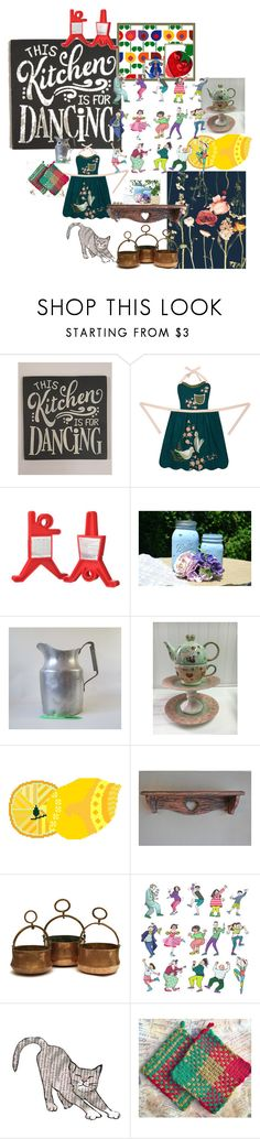 """The Kitchen Is For Dancing"" by pippinpost ❤ liked on Polyvore featuring interior, interiors, interior design, home, home decor, interior decorating, Sara's Signs, Peking Handicraft, MELLOW YELLOW and Del Gatto"