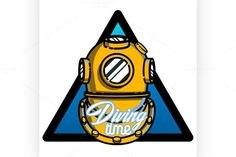 Color vintage diving emblem. Sport Icons. $5.00