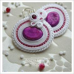 Soutache Earrings, Soutache Jewelry, Bridal Jewelry, Wedding Soutache, White Pink, Ayati Model by AdityaDesign