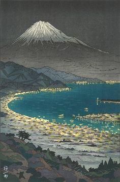 Okada Koichi -The view of Mt.Fuji from Nihon Daira - Japanese Woodblock Print (scene inspiration for painting on a BIG stone/rock)***LL