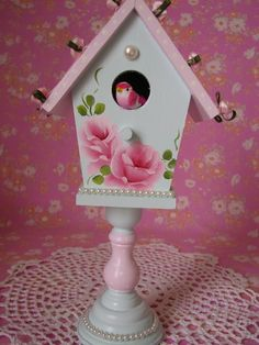 Hand Painted Aqua Pink Birdhouse Shabby Pink Roses by pinkrose1611