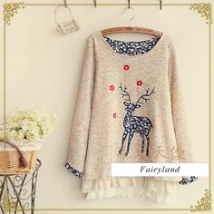 Deer Embroidered Lace Panel Knit Top ♥ http://www.koreastylelove.com/christmas-sweaters-korean-style-fashion/