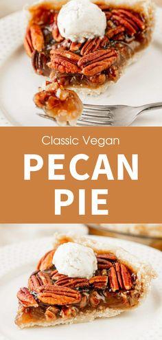 Healthy Vegan Desserts, Vegan Dessert Recipes, Vegan Foods, Vegan Dishes, Delicious Recipes, Vegetarian Recipes, Cooking Recipes, Vegan Baking Recipes, Healthy Pecan Pie Recipe