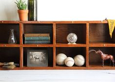 Love this vintage wood cubby/book/curiosity shelf from wretchedshekels, $279.00.