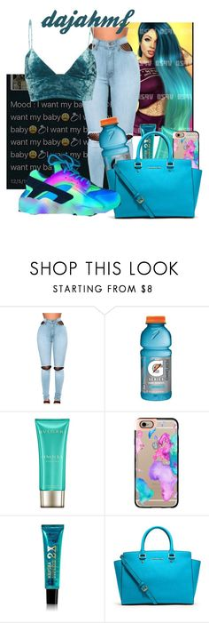 """""""mood: i want my baby"""" by dajahmf ❤ liked on Polyvore featuring WithChic, Gatorade, Bulgari, Casetify, MICHAEL Michael Kors and Fleur du Mal"""