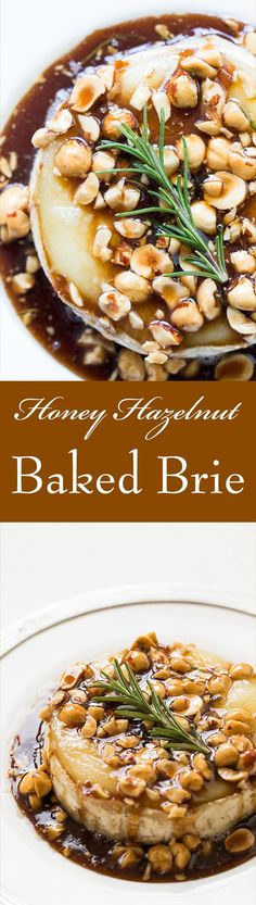 Festive Baked Brie! Drizzled with a sweet and sour honey sauce and toasted hazelnuts. Absolutely delicious with apple slices. Perfect for #Oscars On SimplyRecipes.com