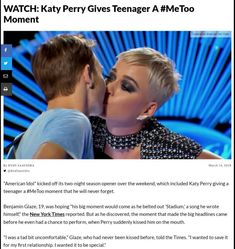 Perry asked Glaze to approach the table for a peck on the cheek, then kissed him on the lips when she went in a second time. Change The World, In This World, Intersectional Feminism, Equal Rights, Faith In Humanity, Social Issues, Up Girl, Disappointed, Katy Perry
