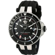 Versace V-Race Diver VAK01 0016 (Stainless Steel/Black) Watches (2,295 CAD) ❤ liked on Polyvore featuring men's fashion, men's jewelry, men's watches, versace mens watches, mens black face watches, mens diamond bezel watches, stainless steel mens watches and mens analog watches