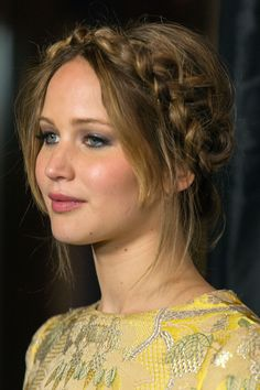 Jennifer Lawrence: This mussy crown braid from Jennifer Lawrence at the Film Critics' Awards is perfect for the boho bride.