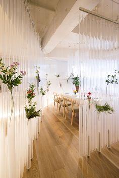 Nacree Restaurant in Tokyo by Kengo Kuma | Yellowtrace #floral #screen